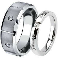 His Hers Brushed Tungsten Stainless Steel Wedding Anniversary Love Ring Band Set