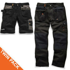Scruffs Worker Plus Black Work Trousers and Trade Shorts TWIN PACK Mens Cargo