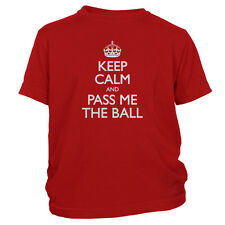 Kid's Keep Calm And Pass Me The Ball T-Shirt Funny Sports Athlete Shirt FREE S&H