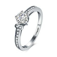 Classic Unique Silver Rings Fashion Jewelry Charms Gift 18k White Gold Plated