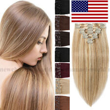 Silky Real Long Clip in Remy Human Hair Extensions Full Head 70-120g Blonde B341