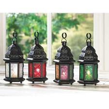 """AweSome Stained Glass punched Metal Moroccan garden Lantern Candle holder 10"""""""