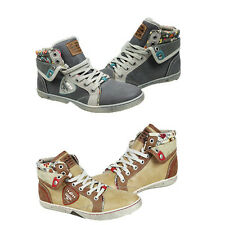 WOMENS LADIES FLAT LACE UP CASUAL FOLD OVER HI TOP PUMPS TRAINERS SHOES SIZE 3-6