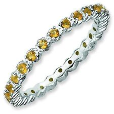 Citrine 2.25mm Prong Eternity Band Sterling Silver Stackable Ring