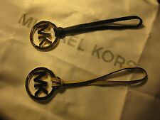 MICHAEL KORS GOLD LOGO HANG TAG CHARM BLACK OR TAN LEATHER STRAP BRAND NEW