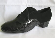 Mens Black Cuban Heel Ballroom, Latin, Salsa, Jive Dance Shoes - UK Size 8.5, 12