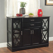 Dining Buffet China Cabinet Storage Bar Display Kitchen Wood Black Antique White