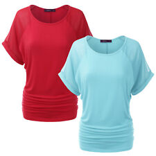 [FINAL SALE] Womens Short Sleeve Loose Fit Dolman Blouse Top With Shirring Sides