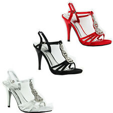 WOMEN'S LADIES STRAPPY MID HIGH STILETTO HEELS ANKLE STRAP SHOES SANDALS 3-8