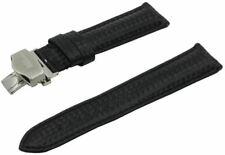 SWISS REIMAGINED Watch Band Leather Stainless Steel Deployment Buckle