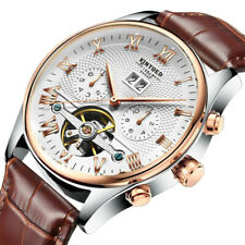 Chic Mechanical Automatic Men Wrist Watch Kinyued Skeleton Classic Leather Steel