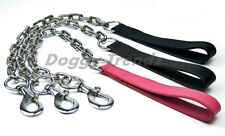 SUPER EXTRA HEAVY LEATHER CHROME DOG CHAIN LEAD THICK STRONG FOR BIG DOG