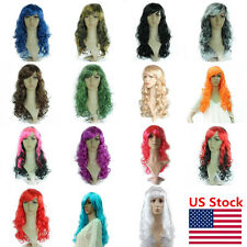 US Women Colorful 50CM Wavy Curly Long Wigs Cosplay Costume Party Full Wigs Hair