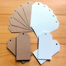 """50 x LARGE GIFT TAGS SMOOTH WHITE SHIMMER WHITE KRAFT """"YOU CHOOSE"""" 60x120mm -NEW"""