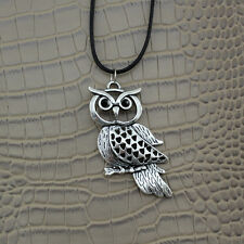 NEW Owl Bird Pendant Silver Bronze Charm Black Leather Necklace Chain Jewelry