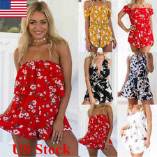 US Women Sleeveless Off Shoulder Floral Print Jumpsuit Romper Backless Playsuits