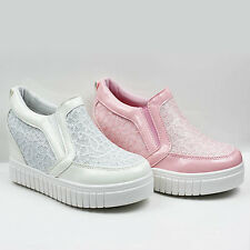 WOMENS LADIES CONCEALED WEDGE HEEL PUMPS SNEAKERS TRAINERS SHOES SIZE 3-8