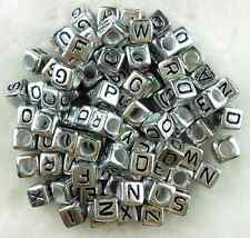 Free Ship A-Z SINGLE LETTER Acrylic Silver Cube ALPHABET BEADS 100Pcs  6mm