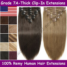 "8PCS Clip In Human Hair Extensions Real Human Hair Extensions THICK 16""-24"" B360"