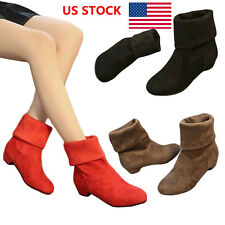 US Women Warm Faux Suede Ladies Low Chunky Heel Ankle Boots Shoes Mid-Calf Boots