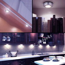 Battery Powered Round Stick on Click 3 LED Push Tap Touch Light Closet Wardrobe