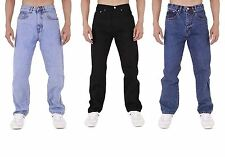 Mens Stretchy Denim Jeans Regular Fit Zip Fly and Button Fastening Work Pants