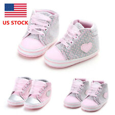 US Soft Sole Baby Girls Infant Shoes Toddler Laces Crib Newborn Sneaker Trainers