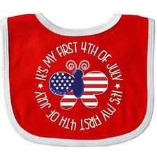 Inktastic First 1st Of July Patriotic Butterfy Baby Bib 4th Babys Fourth Day Red