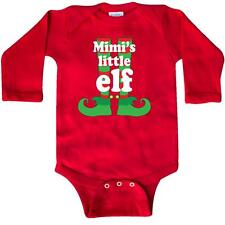 Inktastic Mimi's Little Elf Christmas Holiday Grandchild Long Sleeve Creeper Red