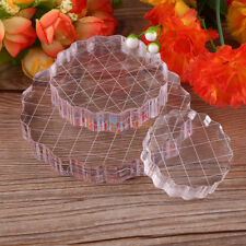 Round Grid Transparent Acrylic Stamping Block Pads Fr Clear Stamps DIY Scrapbook