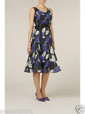 New Jacques Vert dress Tags UK 16 charcoal Grey Purple floral Fit & Flare £159