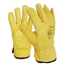 10 Pairs Fleece Cotton Lined Leather Drivers Work Gloves Lorry Driver Gloves