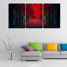 Oil Painting HD Print Wall Decor Art on Canvas row of red trees 3pcs