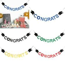 Congrats Doctoral Cap Felt Banner Graduation Party Garland Sign Hanging Decor