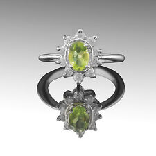 925 Sterling Silver Flower Shaped Ring with Natural Green Peridot Gemstone eBay
