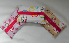 HELLO KITTY FABRIC POCKET TISSUE HOLDER - TISSUES INC..HANDCRAFTED