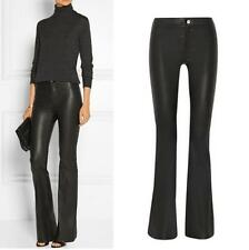 New Womens Ladies Leather Slim Fit Dress Casual OL Pants Lep High Waist Trousers