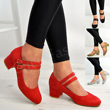 Womens Ladies Mary Jane Mid Block Heel Work Casual Double Strap Dolly Shoes Size