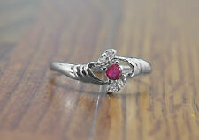 925 Sterling Silver Ring with Red Garnet Round Natural Gemstone Handmade eBay.