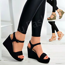 New Womens Ladies Braided Wedges Platforms Ankle Strap Fashion Shoes Size Uk 3-8