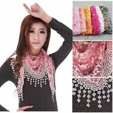 Women's Soft Lace Triangle Wrap Shawl Chiffon Scarf Long Voile Stole Scarves