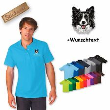 Polo Shirt Cotton Embroidered Embroidery Dog Border Collie + Desired text