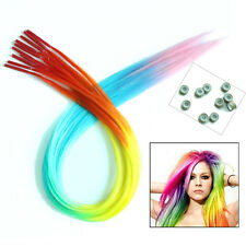 Rainbow Ombre Straight Grizzly Synthetic Feather Hair Extensions + Silicone Bead