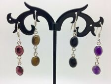 925 Sterling Silver Drop Oval Gemstone Natural Cabochon Stone Dangle Earrings