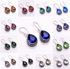 925 Sterling Silver Overlay Earrings, Handcrafted Gemstone Women Jewelry PEb
