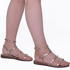 New Women Ladies Summer Flat  Studded Strappy Gladiator Slingback  Sandals Shoes