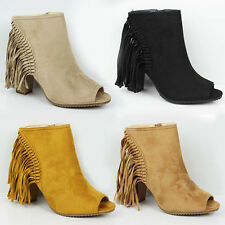 WOMENS LADIES HIGH BLOCK HEEL TASSLE CUT OUT PEEP TOE ANKLE BOOTS SHOES SIZE 3-8