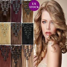 "BIG SALE Clip in Remy Human Hair Extensions Full Head Blonde US 16""18""20""22"" B81"