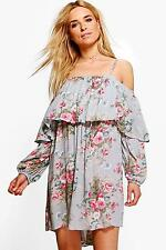NEW Boohoo Womens Isobel Off Shoulder Floral Shift Dress in