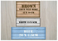 DOUBLE-SIDED WOOD EFFECT Metal Rustic Door Sign Reversible Plaque: Add Own Text
